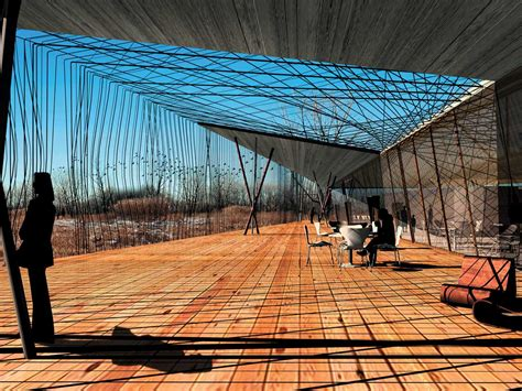 viewing deck design environmental center and bird watching facility using recycled m
