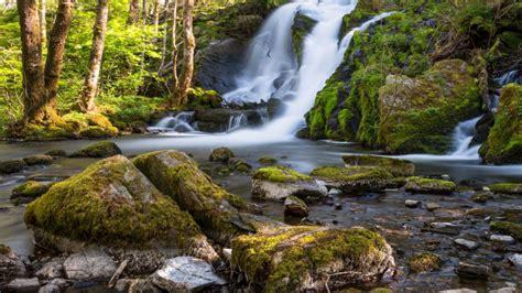 beautiful waterfall fana kulturpark norway rocks trees
