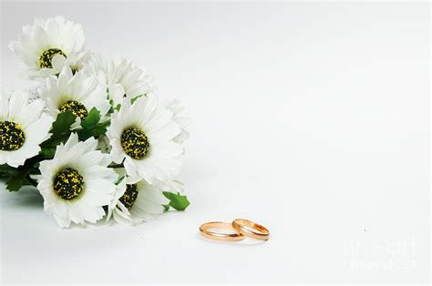 wedding rings  flowers photograph  michal bednarek