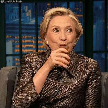 Hillary Clinton Gifs Drinking Meyers Seth Cheers