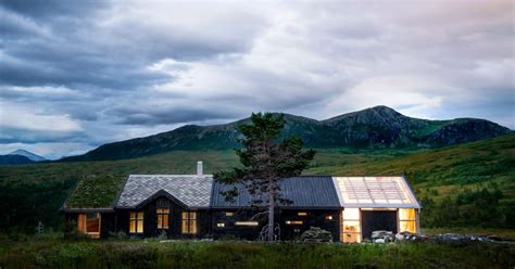 cool norwegian cabin sports mismatched roofs curbed
