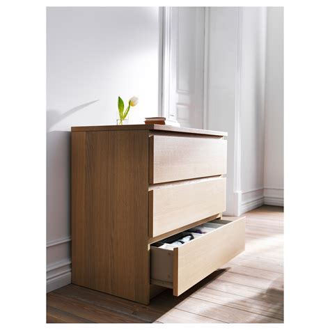 malm chest of 3 drawers white stained oak veneer 80x78 cm ikea