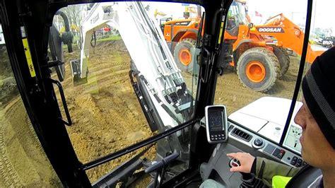 bobcat  excavator test drive cab view youtube
