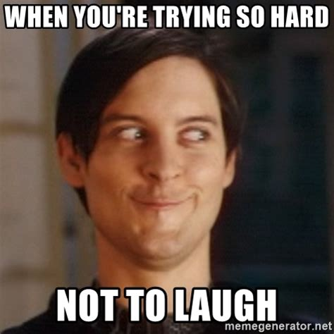 Trying Not To Laugh Meme - when you re trying so hard not to laugh peter parker spider man meme generator