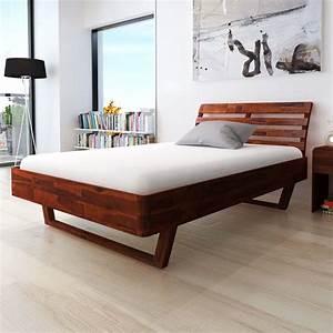 Lit Double Bois : lit double en bois d 39 acacia marron lit adulte lit 2 places ~ Premium-room.com Idées de Décoration