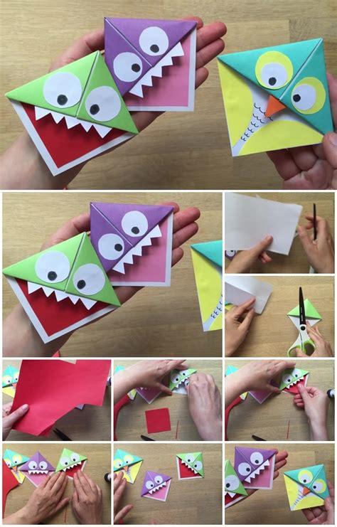 easy paper monster  owl corner bookmarks tutorial