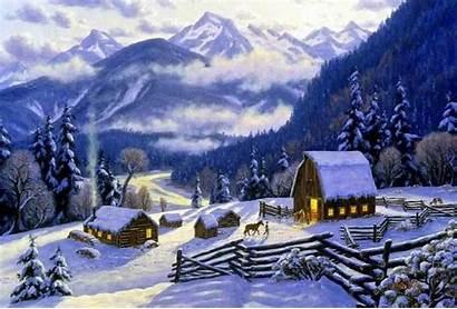 Winter Christmas Snow Village Scene Cottage Desktop