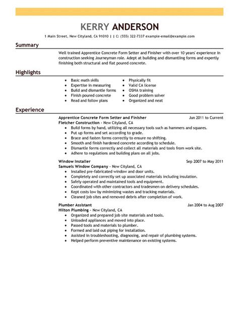 construction experience resumes apprentice concrete form setter and finisher resume