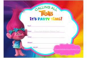 Trolls Birthday Party Invitation Printable
