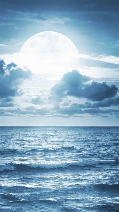 Ocean Moon Waves Moonlight Clouds Scenic Scene