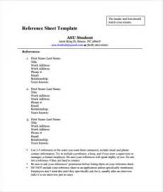 Reference List Format Template by Reference Sheet Template 30 Free Word Pdf Documents