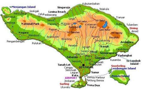 peta pulau bali indonesia picture  lake beratan