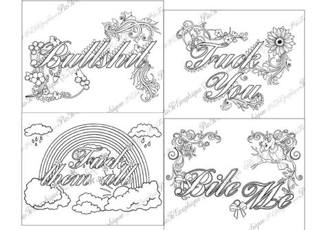 adult coloring page the swearing words pack 4 swear