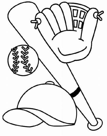 Baseball Coloring Pages Bat Birthday Glove Hat