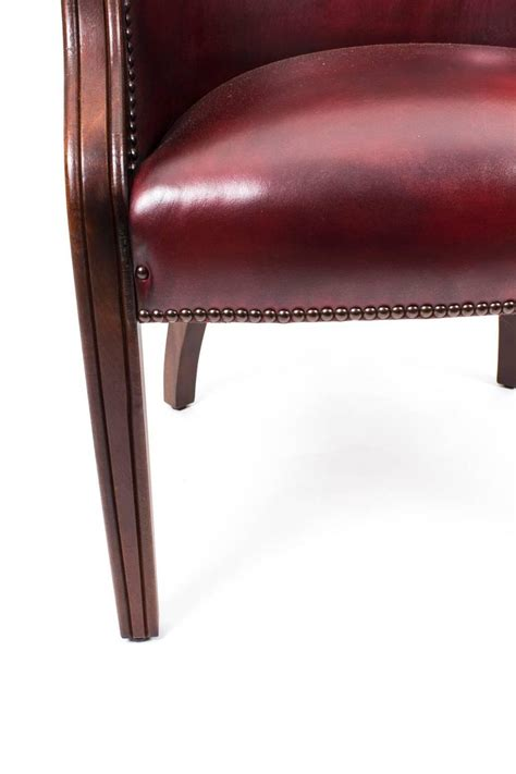 pair of handmade leather desk chairs ox blood for