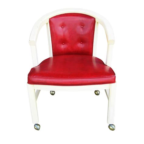 pair of wood frame club chairs on castors mr12896 sale