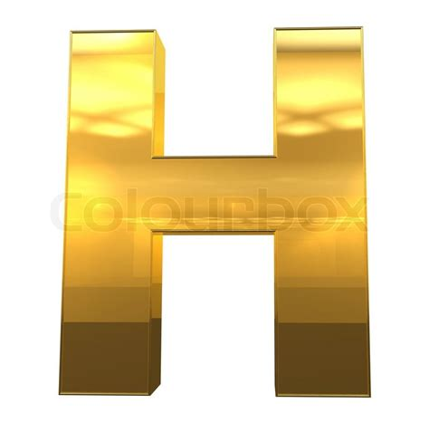 Letter H From Gold With Gold Frame Alphabet Set, Isolated