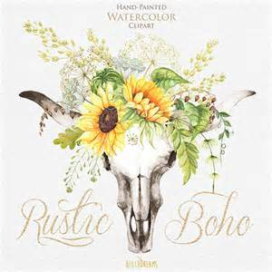 sunflower wreath watercolor boho bull skull with sunflower bouquet with