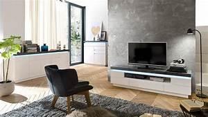 Tv Lowboard Beton : lowboard atlantas tv board in wei matt und beton inkl led ~ Indierocktalk.com Haus und Dekorationen