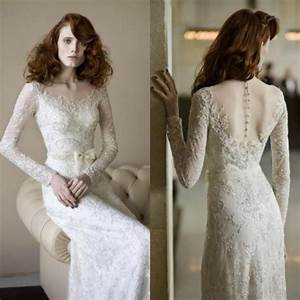 vintage long sleeve wedding dresses lace sash illusion With long sleeve wedding dresses designer