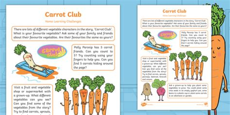* New * Carrot Club Home Learning Challenges Nursery Fs1 Eyfs
