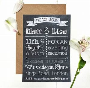 chalkboard evening wedding invitation by peardrop avenue With wedding invitations for evening reception