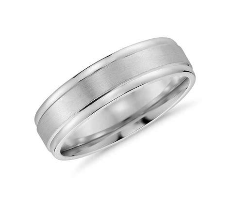 brushed inlay wedding ring   white gold mm blue nile