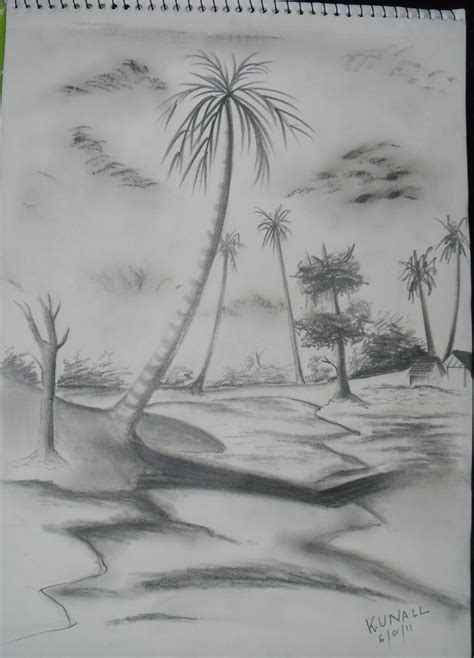 Boat Drawing By Pencil by Drawing Of Nature With Boat By Pencil Scenery Boat