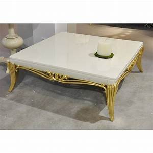 Glossy cream and gold leaf carved square coffee table for Cream and gold coffee table