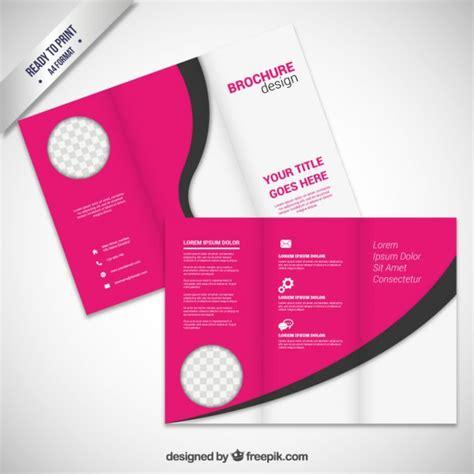 Pink Brochure Design Vector
