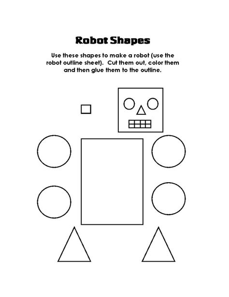 shapes for preschoolers to cut out robot shapes color cut and paste the shapes student 970