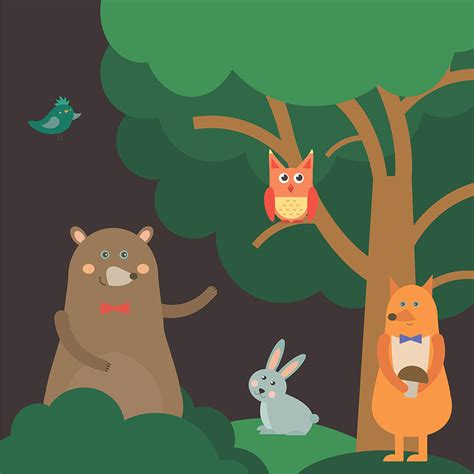 vector illustration  cute animal  night forest