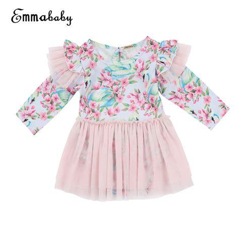 emmababy 2018 summer baby swan flower dress bebe