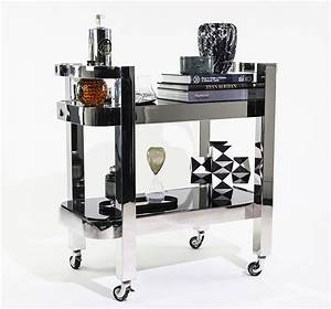 Nickel Plated Drink Trolley with Black Glass - The Cool