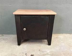 Petit Meuble Metal : table de nuit style industriel bois et m tal petit meuble style industriel ~ Teatrodelosmanantiales.com Idées de Décoration