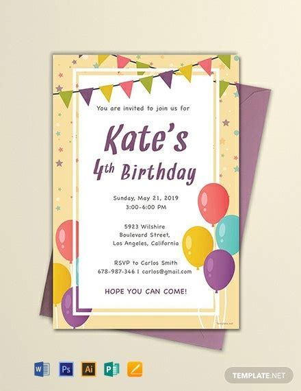 FREE Email Birthday Invitation Template Word PSD