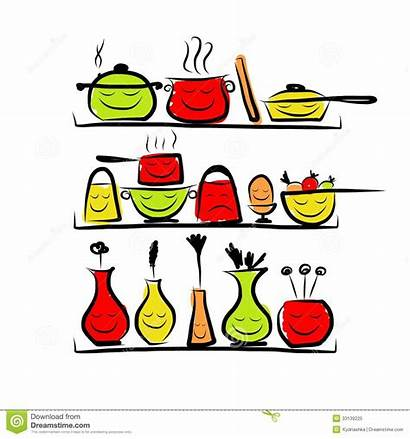 Kitchen Utensils Shelves Sketch Drawing Characters Format