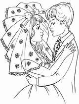 Bride Groom Coloring Colouring Princess Popular Coloringhome Library Clipart sketch template