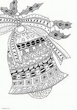 Coloring Pages Christmas Zentangle Printable Adults Bell Adult Bells Jingle Colouring Doodle Children Gifts sketch template