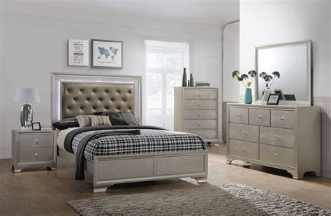 glam bedroom set lyssa led glam bedroom furniture sets
