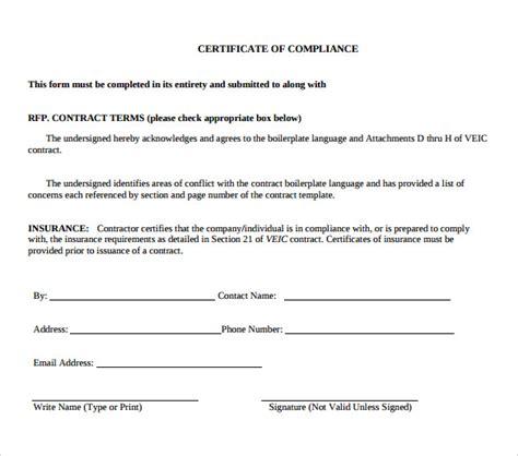 certificate of compliance template 13 certificate of compliance sles sle templates