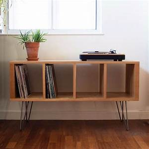 Vinyl, Storage, Record, Player, Stand, Tv, Stand, Great, Quality, Solid, Oak, Mid, Century, Hairpin, Legs