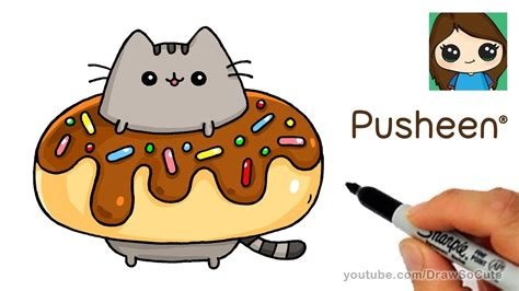 draw pusheen cat   donut easy cumseface