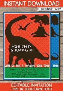 Dinosaur Birthday Party Invitations Template