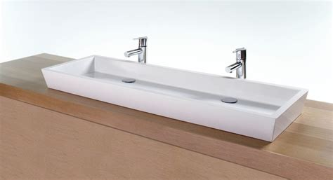 one large sink with two faucets for bathroom useful