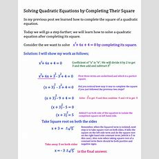 Solving Quadratic Equations By Completing The Square  1 — Steemit