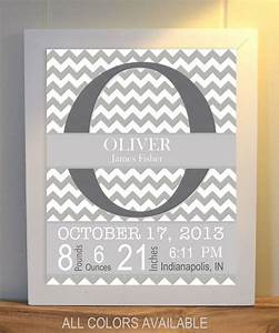 Grey white nursery art baby boy monogram