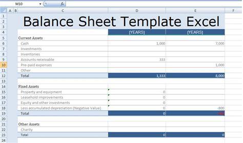 balance sheet template excel  excel spreadsheet