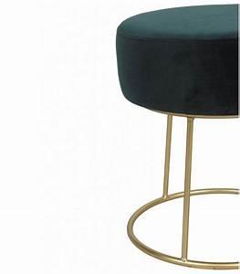 Pied De Menthe : pouf tabouret pieds m tal dor assise velours vert menthe ~ Melissatoandfro.com Idées de Décoration