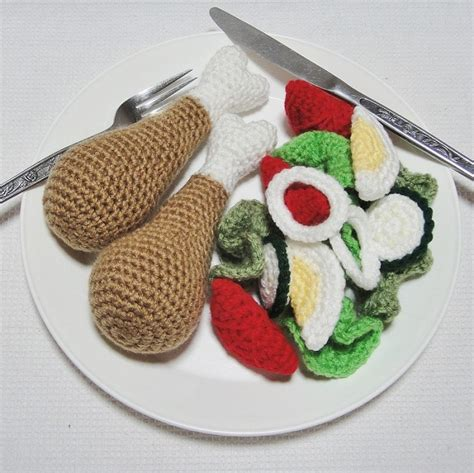 crochet cuisine dinner 17 crochet play food set chicken drumsticks and salad mini me handcrafts